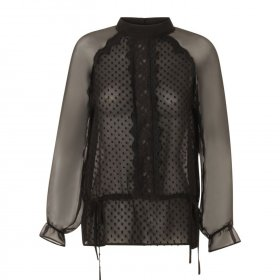 Coster Copenhagen - Top  w. dot fabric and lace fra Coster Copenhagen