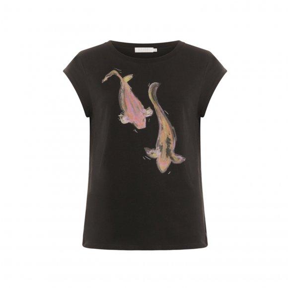 Coster Copenhagen -  T-shirt with fish print fra Coster Copenhagen